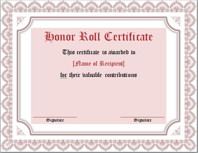 Honor Roll Certificate Template 12