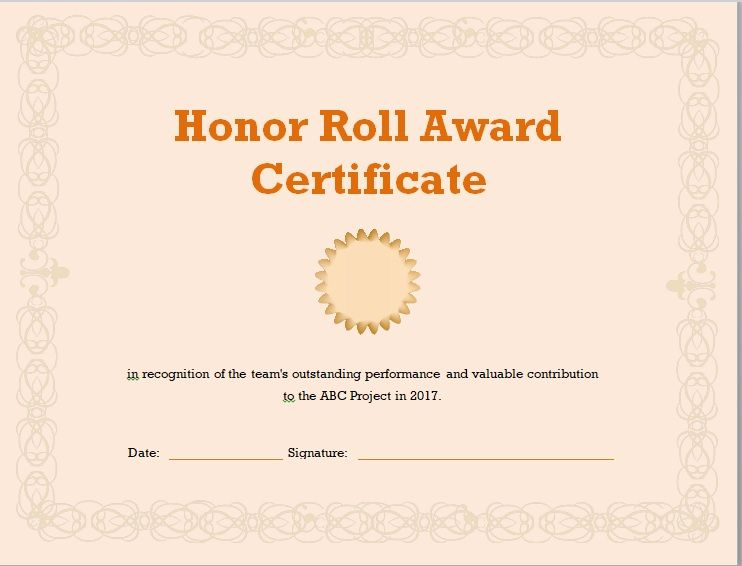 Honor Roll Certificate Template 14