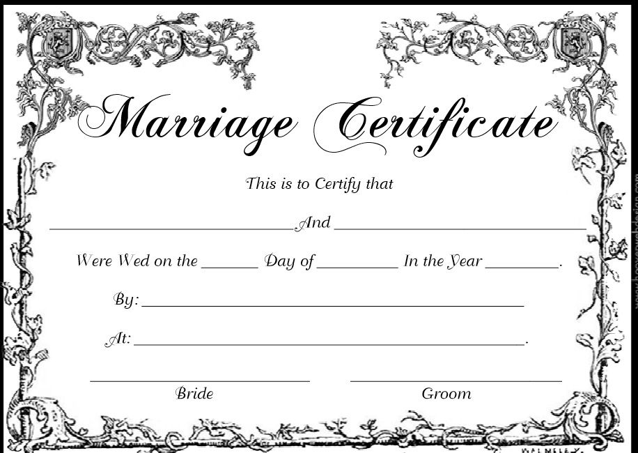 Marriage Certificate Template 02
