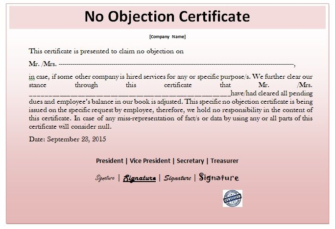 No Objection Certificate Template 05