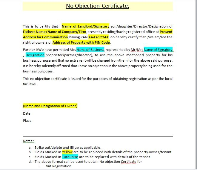 No Objection Certificate Template 07
