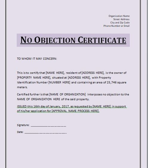 No Objection Certificate Template 10