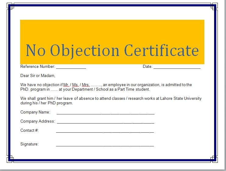 No Objection Certificate Template 12