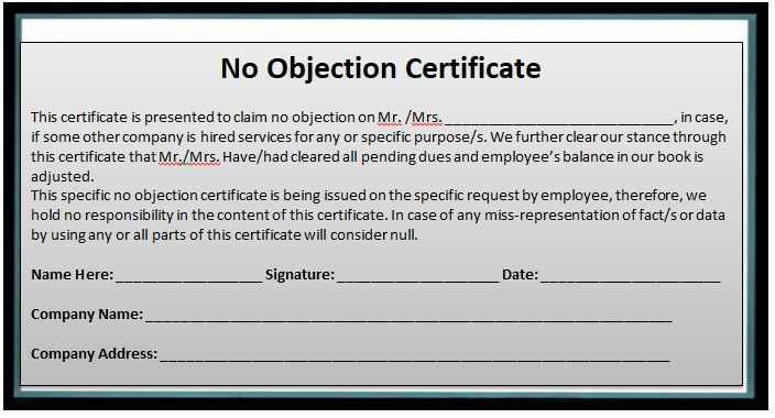 No Objection Certificate Template 13