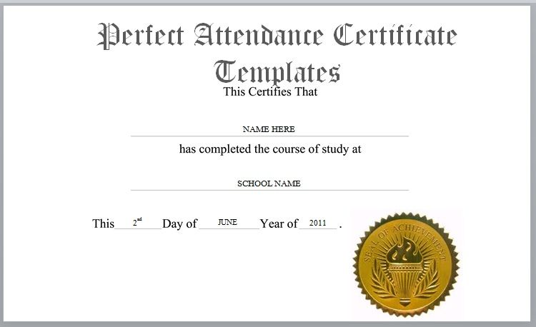 Perfect Attendance Certificate Template 01