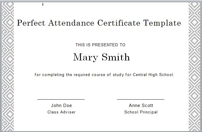 Perfect Attendance Certificate Template 02