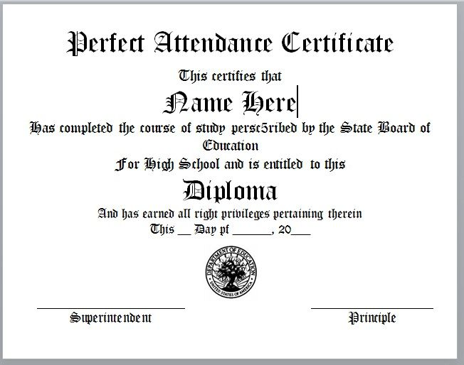Perfect Attendance Certificate Template 03