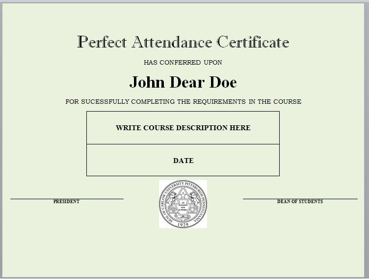 Perfect Attendance Certificate Template 05