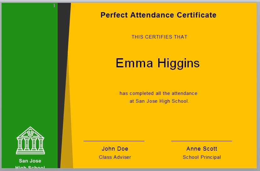 Perfect Attendance Certificate Template 06