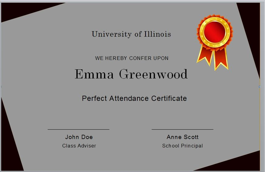 Perfect Attendance Certificate Template 07