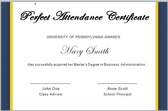 Perfect Attendance Certificate Template 09
