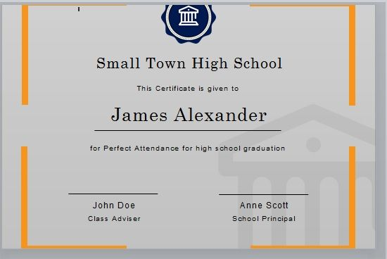 Perfect Attendance Certificate Template 10