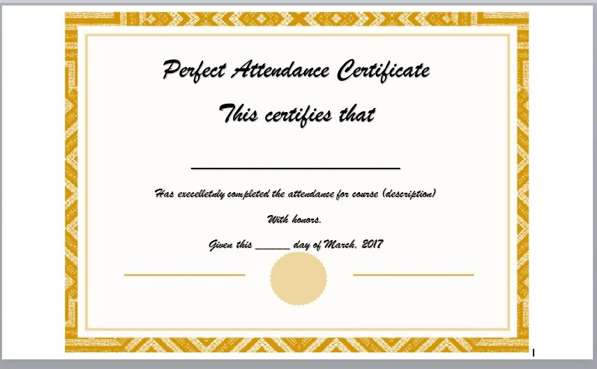 Perfect Attendance Certificate Template 12