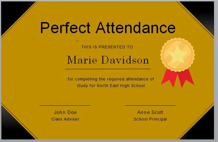 Perfect Attendance Certificate Template 13