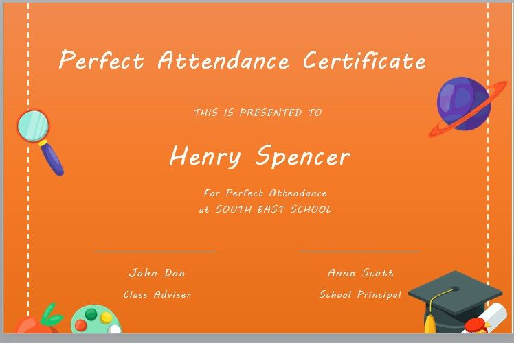 Perfect Attendance Certificate Template 15
