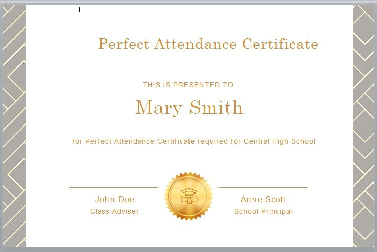 Perfect Attendance Certificate Template 16