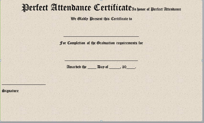 Perfect Attendance Certificate Template 19