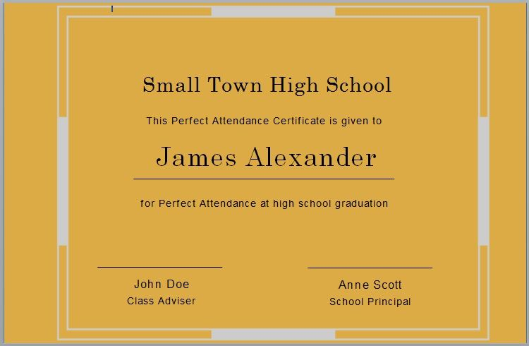 Perfect Attendance Certificate Template 20