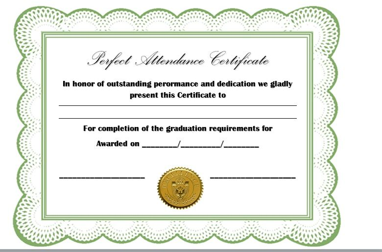 Perfect Attendance Certificate Template 22