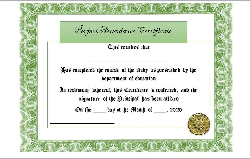 Perfect Attendance Certificate Template 23