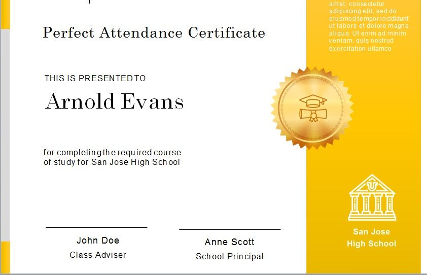 Perfect Attendance Certificate Template 24