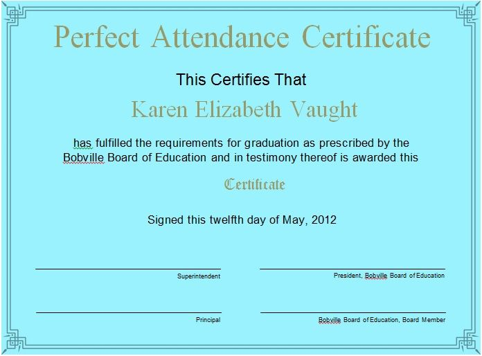 Perfect Attendance Certificate Template 25