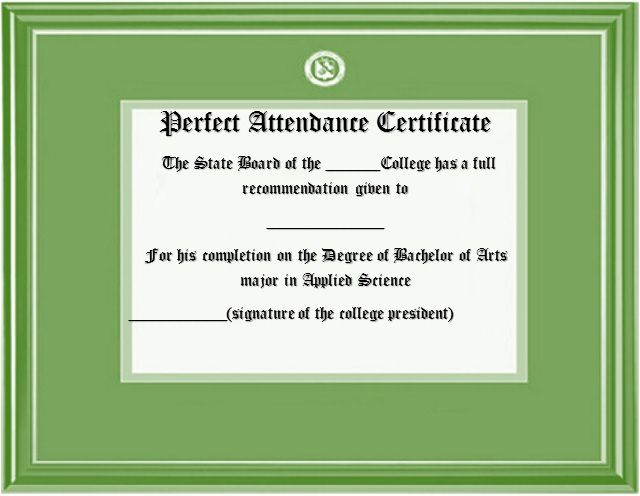 Perfect Attendance Certificate Template 26