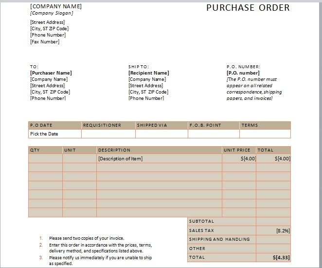 Purchase Order Template 01