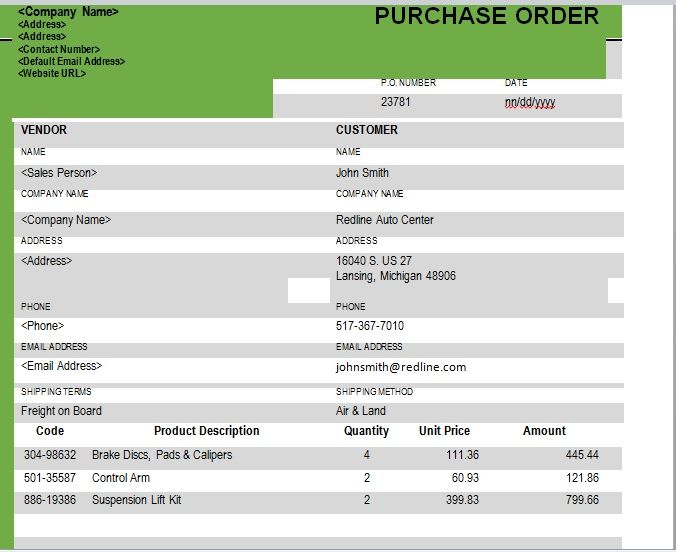 Purchase Order Template 06
