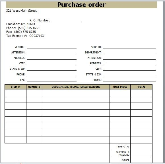 Purchase Order Template 12
