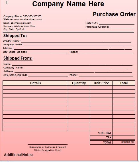 Purchase Order Template 16