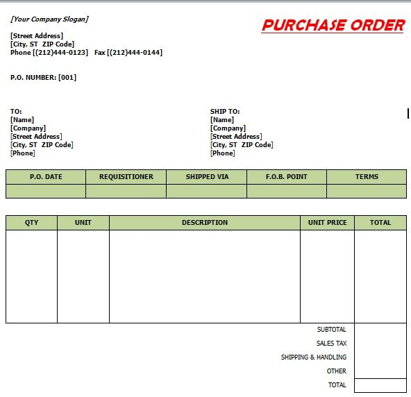 Purchase Order Template 22