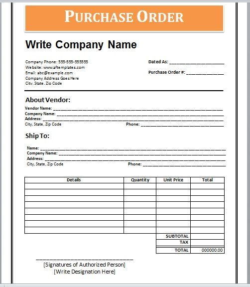 Purchase Order Template 23
