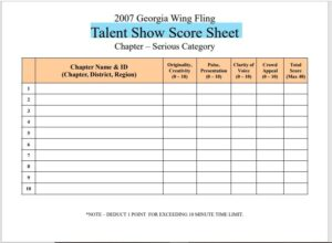 Talent Show Score Sheet Template 11