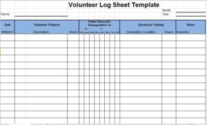 Volunteer Log Sheet Template 07