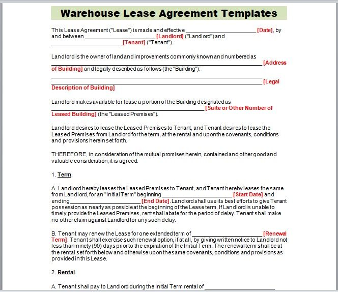 Warehouse Lease Agreement Template 01