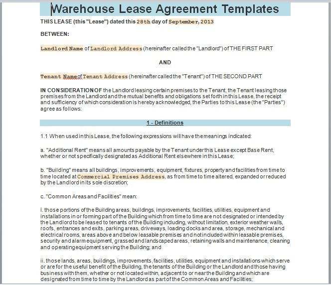 Warehouse Lease Agreement Template 02