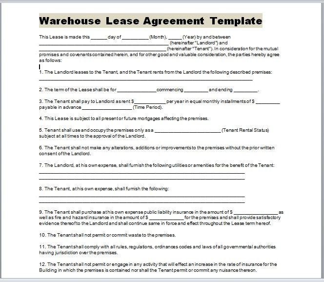 Warehouse Lease Agreement Template 03