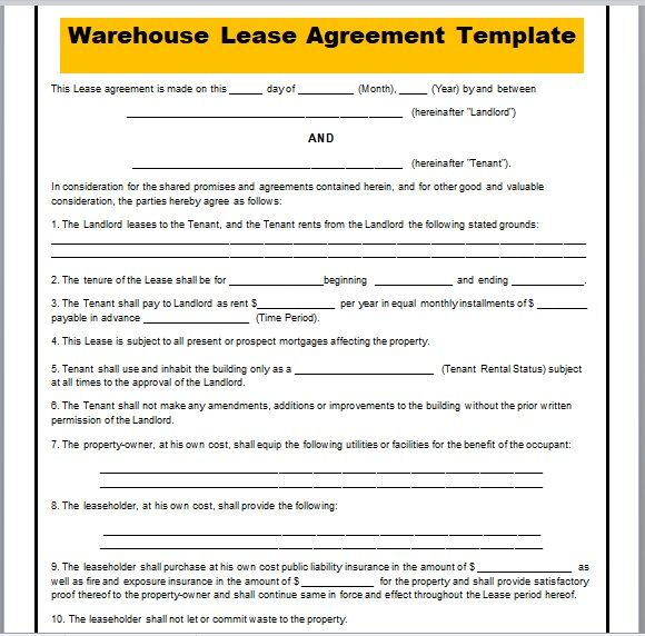 Warehouse Lease Agreement Template 04