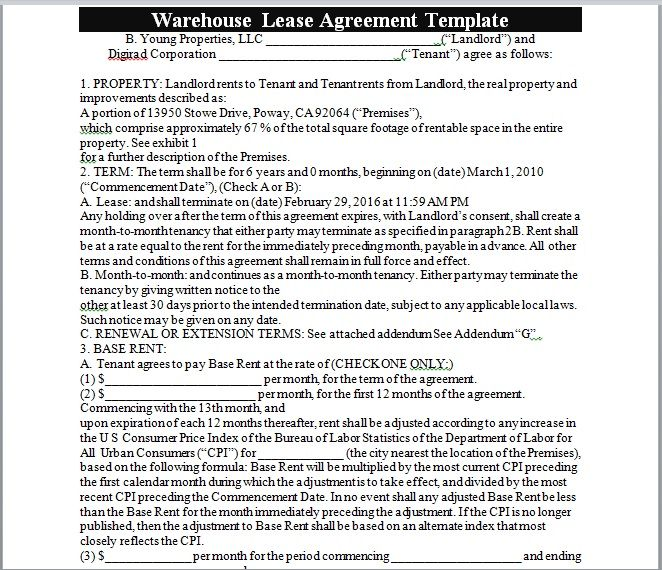 Warehouse Lease Agreement Template 06