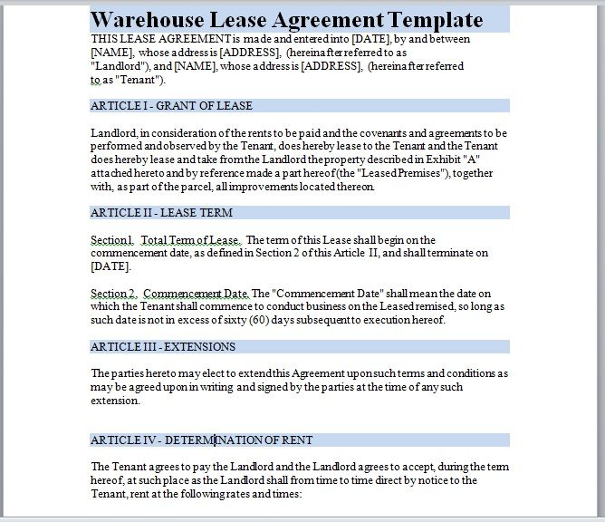 Warehouse Lease Agreement Template 07