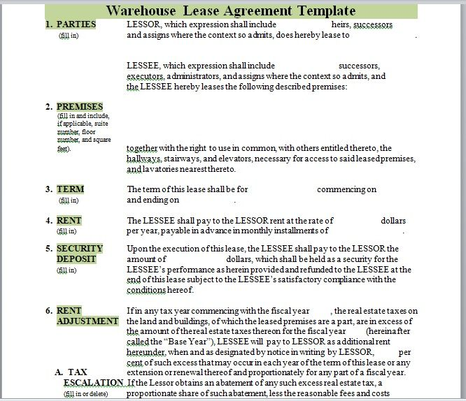 Warehouse Lease Agreement Template 09