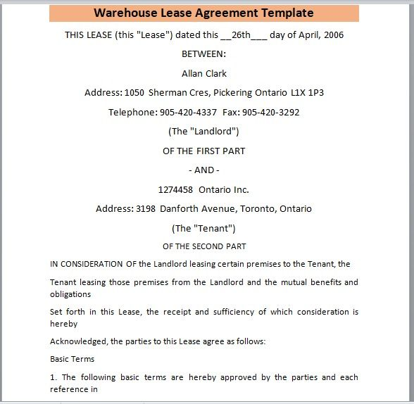 Warehouse Lease Agreement Template 10