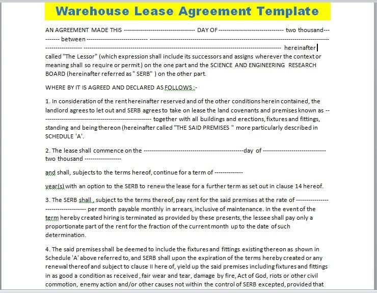 Warehouse Lease Agreement Template 11