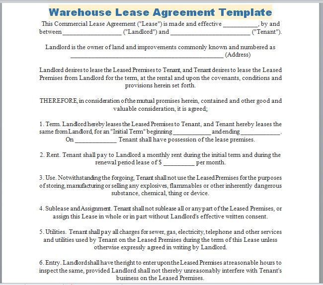 Warehouse Lease Agreement Template 12