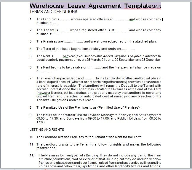 Warehouse Lease Agreement Template 13