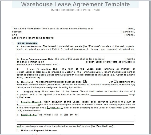 Warehouse Lease Agreement Template 14