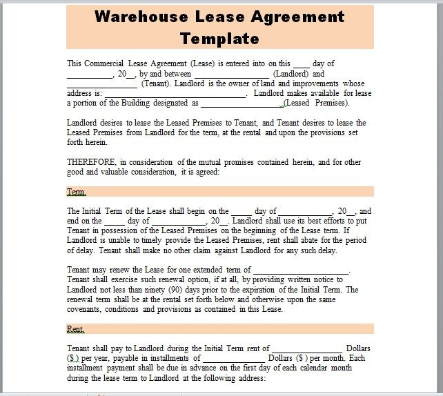 Warehouse Lease Agreement Template 15