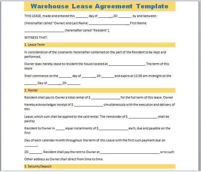 Warehouse Lease Agreement Template 16