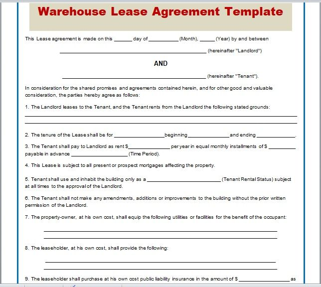Warehouse Lease Agreement Template 18
